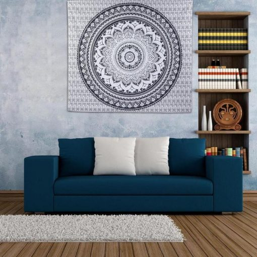 Schwarz und Weiß Mandala Wandbehang