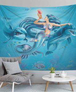 Meerjungfrau und Delphin Wandbehang
